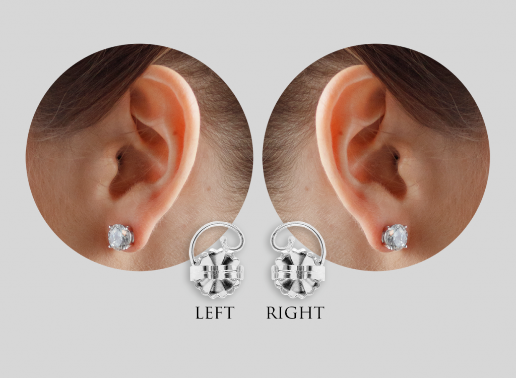 The difference between left and right earring back support